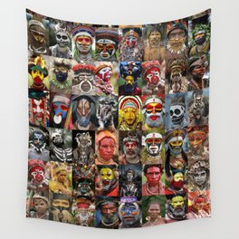 Papua New Guinea Faces Montage Wall Tapestry