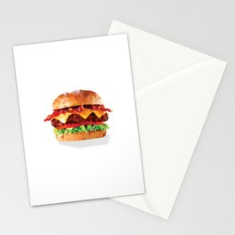 Geometric Bacon Cheeseburger Stationery Cards