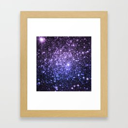 Galaxy Sparkle Stars Purple Periwinkle Blue Framed Art Print