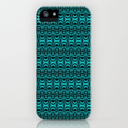 Abstract Pattern Dividers 07 in Turquoise Black iPhone Case