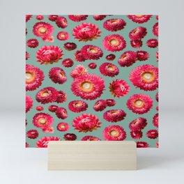 Paper Daisies on Teal Mini Art Print