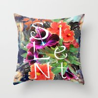 silent Throw Pillows featuring Silent by tomthebigbear