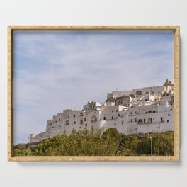 Panoramic view of the medieval white village of Ostuni Serving Tray
