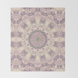 47 Wisteria Circle - Vintage Cream and Lavender Purple Mandala Throw Blanket