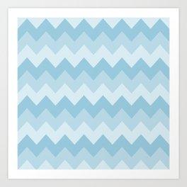 Blue Chevron Stripe Pattern Art Print