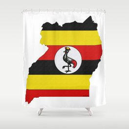 Uganda Map with Ugandan Flag Shower Curtain