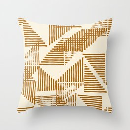 Stripe Triangle Block Print Geometric Pattern in Orange Throw Pillow