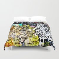 alisa burke Duvet Covers featuring big messy yellow flower by Alisa Burke