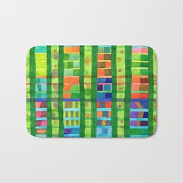Colored Fields With Bamboo Bath Mat