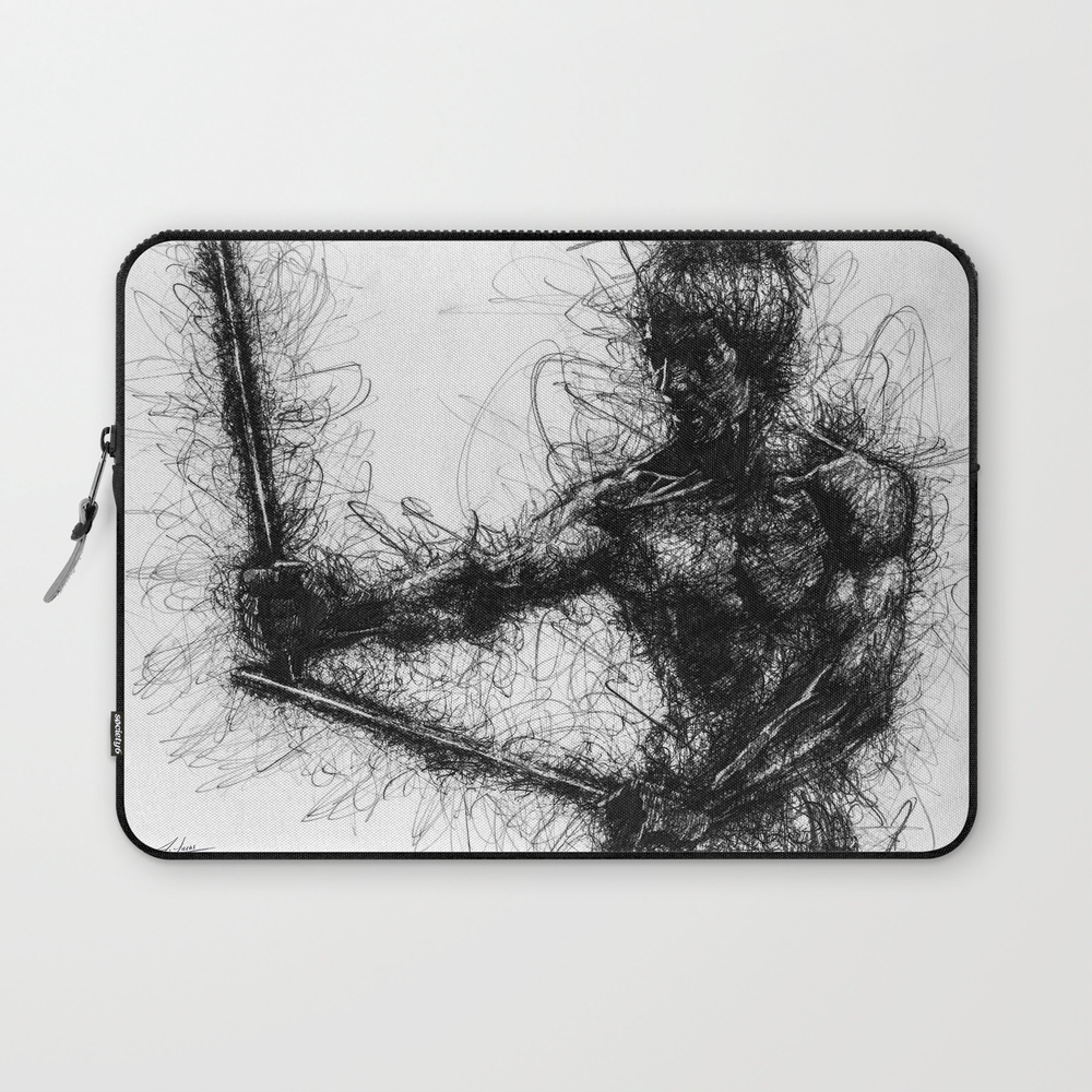 Bruce Kung Fu Master Lee, Drawing, Wall Art, Kung … Laptop Sleeve LSV8502345