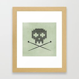 Knitted Skull / Knitting with Attitude (Black on Greenish Grey) Framed Art Print