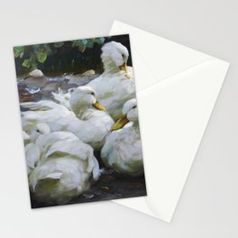 Five resting white ducks by Alexander Koester, 1932 Stationery Cards