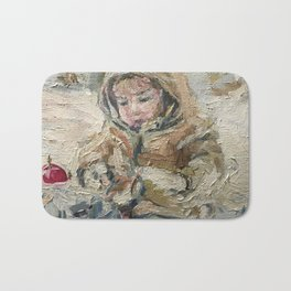 A child on a walk Print Original Oil Painting on Canvas Bath Mat