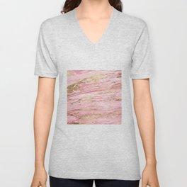 Stylish Pink & Gold Abstract Marbleized Paint Unisex V-Neck