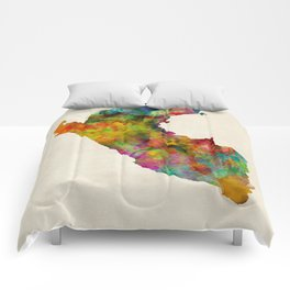 Peru Watercolor Map Comforters