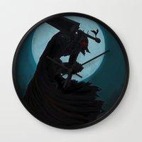 berserk Wall Clocks featuring Berserk Armor by Yvan Quinet
