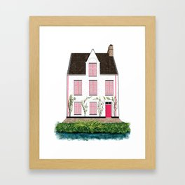 Pink and White House in Bruges Framed Art Print