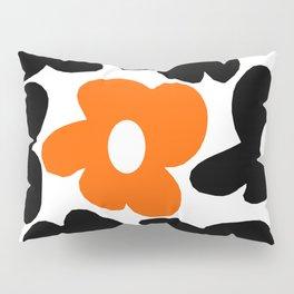 Large Orange and Black Retro Flowers White Background #decor #society6 #buyart Pillow Sham