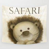 safari Wall Tapestries featuring lion safari by M Maia Art