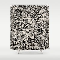 newspaper Shower Curtains featuring - newspaper - by Magdalla Del Fresto