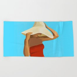 At The Beach: Red Suit Beach Towel
