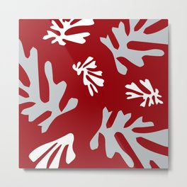 Matisse Silver & Red Holiday Leaves Metal Print