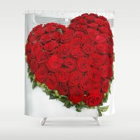 mercedes Shower Curtains featuring Heart of red roses by Premium