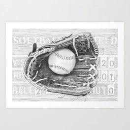 Softball (black and white) Art Print