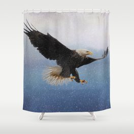 Snowy Flight - Bald Eagle Shower Curtain