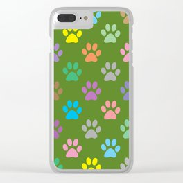 Colorful paws pattern Clear iPhone Case