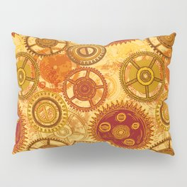 Vintage seamless pattern with gears of clockwork on aged paper background. Pillow Sham