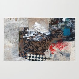 You Make Me Crazy Abstract Mixed Media Collage Art Painting Rug