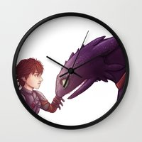 hiccup Wall Clocks featuring Hiccup & Toothless by MaliceZ