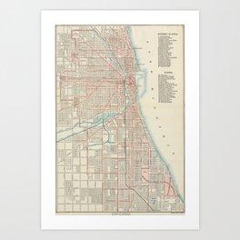 Vintage Chicago Railroad Map (1893) Art Print