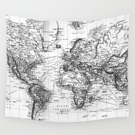 Black and White World Map (1892) Wall Tapestry