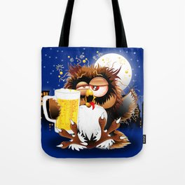 Drunk Owl with Beer Funny Character Tote Bag