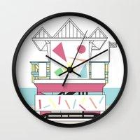 miami Wall Clocks featuring Miami by Elena Éper