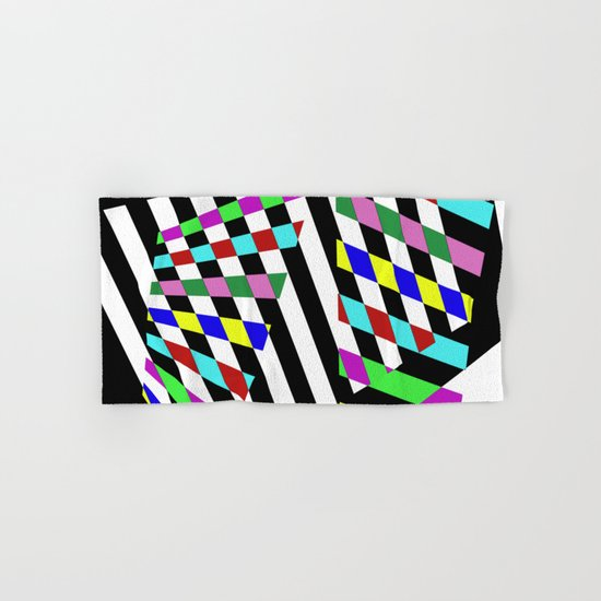 Lost Dimension - Abstract 3D style, multicoloured, geometric artwork Hand & Bath Towel