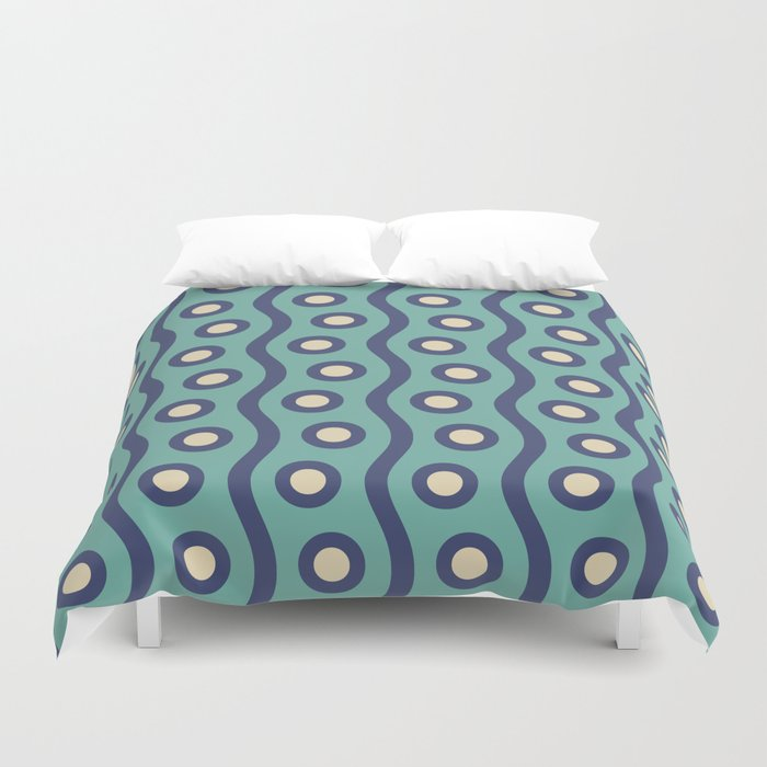 Mid Century Modern Rising Bubbles Pattern Turquoise and Blue Duvet Cover