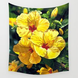 Yellow Hibiscus #18 Wall Tapestry