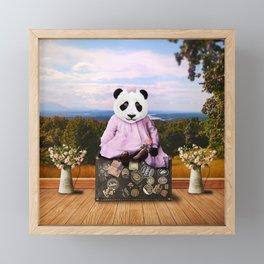 Baby Panda on Vacation Framed Mini Art Print