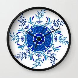 Leaf Mandala – Blue Palette Wall Clock