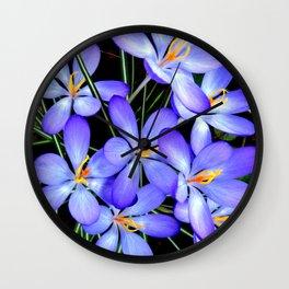 Blue Wildflower Wall Clock