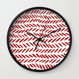 Watercolor knitting pattern - red Wall Clock