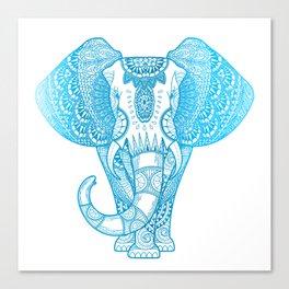 Teal Blue Elephant Canvas Print