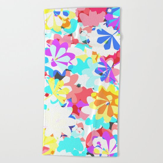 Joyful floral garden Beach Towel