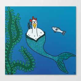 Eglantine la poule (the hen) disguised as a mairmaid Canvas Print