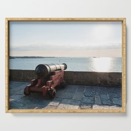 Old gun on the walls of Saint Malo Serving Tray