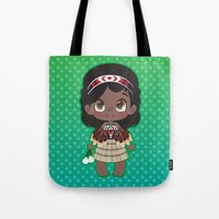 maori Tote Bags featuring Little Maori Doll by Cute Galaxy