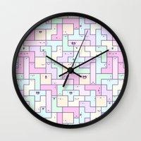 tetris Wall Clocks featuring Kawaii Tetris by KiraKiraDoodles